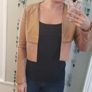 brown pleather cropped jacket